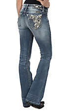 Miss Me Women's Medium Wash Floral Embroided Pocket Boot Cut Jeans