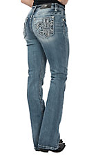 Miss Me Women's Light Wash Fleur De Lis Open Pocket Boot Cut Jeans