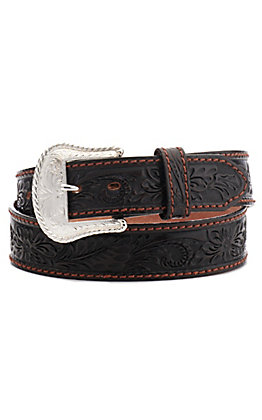 Tony Lama Men's Black Floral Tooled Western Belt