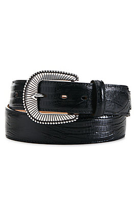 Tony Lama Men's Black Lizard Print Belt
