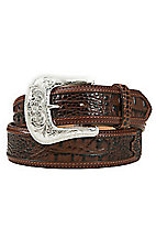 Tony Lama Men's Chocolate Brown Southern Caiman Belt