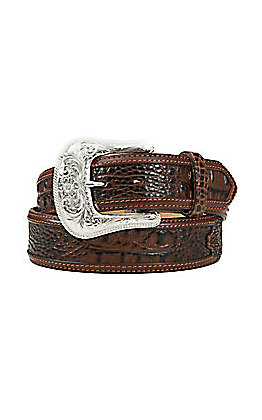 Tony Lama Men's Chocolate Brown Southern Caiman Print Belt