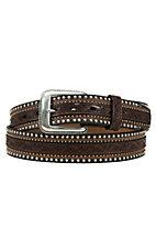 Tony Lama Men's Brown Jagged Rail Belt