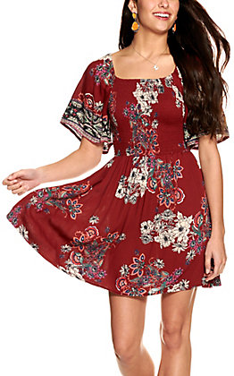 Angie Women's Wine with Floral Print Smocked Short Sleeve Dress