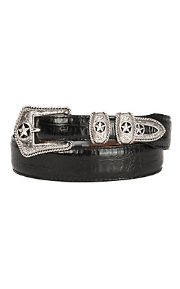 Tony Lama Men's Black Country Croc Print Western Belt