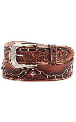 Tony Lama Men's The Alamo Brown with Scrolling and Studs Western Belt