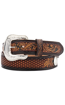 Tony Lama Men's Silverthorne Brown Diamond and Scrolling Tooled Western Belt