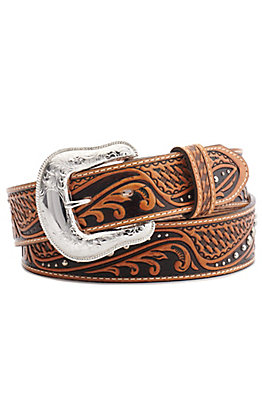 Tony Lama Men's Colton Tan Scrolling & Basketweave with Studs Tooled Western Belt