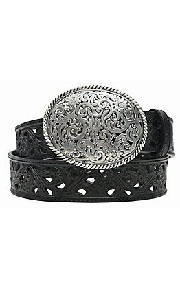 Tony Lama Women's Black Pierced Filigree Trophy Belt
