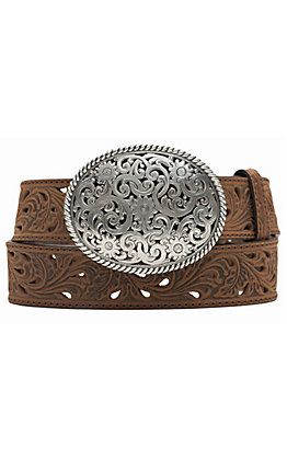 Tony Lama Women's Brown Pierced Filigree Trophy Belt