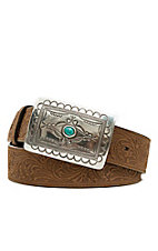 Tony Lama Women's Aged Bark Brown Navajo Spirit Tooled Leather Western Belt C50189