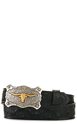 Tony Lama Kids' Black with Texas Longhorn Buckle Tooled Belt