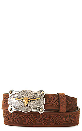 Tony Lama Kids' Aged Brown with Texas Longhorn Buckle Tooled Belt