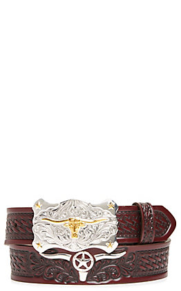 Tony Lama Boy's Colton Brown Basketweave Longhorn Belt