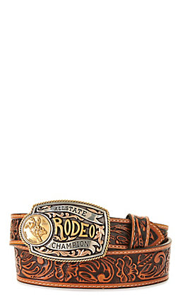 Tony Lama Kids' Brown with Rodeo Champion Buckle Tooled Belt