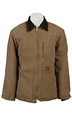 Carhartt Mens' Frontier Brown Sandstone Ridge Sherpa-Lined Coat