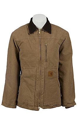 Carhartt Mens' Frontier Brown Sandstone Ridge Sherpa-Lined Coat