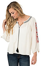 Umgee Women's Cream with Aztec Embroidered 3/4 Sleeves Peasant Top