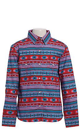 Panhandle Girls' Red Aztec Print Long Sleeve Snap Western Shirt