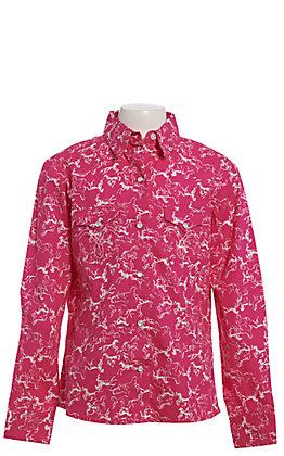 Panhandle Girls' Hot Pink & White Horse Print Long Sleeve Snap Western Shirt