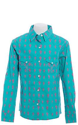 Panhandle Girls' Teal with Pink Cactus Print Long Sleeve Western Shirt