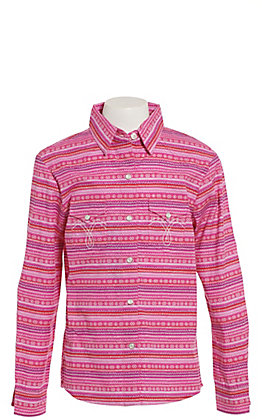 Panhandle Girls' Pink and Purple Aztec Long Sleeve Western Shirt