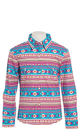 Panhandle Girls' Pink and Turquoise Aztec Long Sleeve Western Shirt