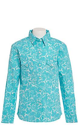 Panhandle Girls' Turquoise with White Horses Long Sleeve Western Shirt