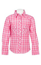 Panhandle Girls Pink Plaid L/S Western Snap Shirt