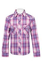 Panhandle Girls Pink and Purple Plaid L/S Western Snap Shirt