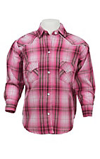 Panhandle Girl's Hot Pink & Brown Plaid Long Sleeve Western Shirt