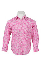 Panhandle Girl's Pink Paisley Print Long Sleeve Western Shirt