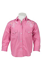 Panhandle Girl's Pink with Floral & Horse Embroidery Long Sleeve Western Shirt