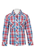 Panhandle Girls Red and Blue Plaid L/S Western Snap Shirt