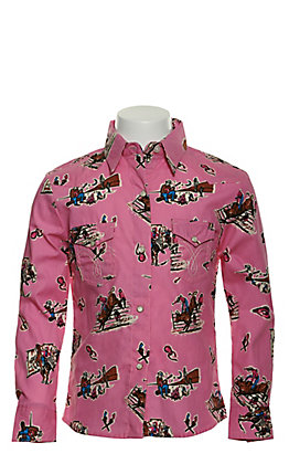 Panhandle Girls' Pink with Western Print Long Sleeve Western Shirt