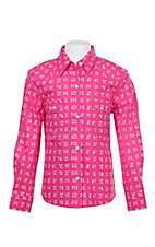 Panhandle Girls Hot Pink Arrow Print Pearl Snap Western Shirt
