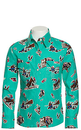 Panhandle Girls' Turquoise with Western Print Long Sleeve Western Shirt