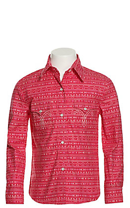Panhandle Girls' Pink with Butterfly Aztec Print Long Sleeve Western Shirt