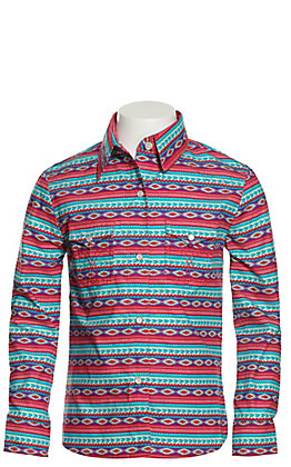Panhandle Girls' Turquoise, Pink and Purple Aztec Long Sleeve Western Shirt