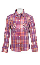 Panhandle Girls Purple Plaid Print Pearl Snap Western Shirt