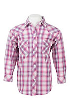 Panhandle Girl's Purple and White Plaid Long Sleeve Western Snap Shirt