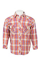 Panhandle Girl's Orange, Yellow, and Purple Plaid Long Sleeve Western Snap Shirt