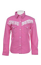 Panhandle Girl's Pink with Fringe Yokes Long Sleeve Western Snap Shirt