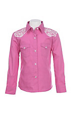 Panhandle Girl's Pink with Lace Details Long Sleeve Western Snap Shirt