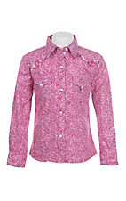 Panhandle Girl's Pink Paisley Print Long Sleeve Western Snap Shirt