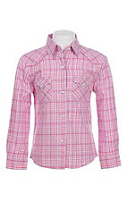 Panhandle Girl's Pink Plaid Long Sleeve Western Snap Shirt