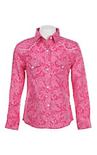 Panhandle Girl's Pink Floral Print Long Sleeve Western Snap Shirt