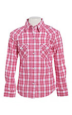 Panhandle Girls Pink Plaid Print Pearl Snap Western Shirt