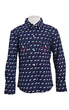 Panhandle Girls Navy Horse Print Pearl Snap Western Shirt