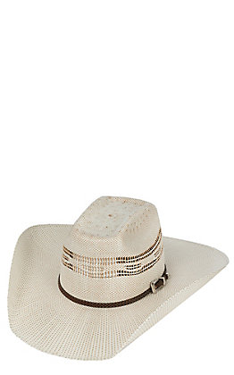Cavender's Ranch Collection Two Tone Bangora Straw Vented Crown Cowboy Hat